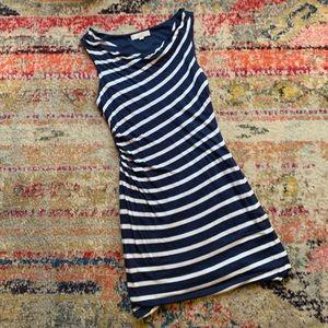 AT Loft Navy & White Striped Dress - Size L